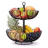 Chefarone Obst Etagere 34 cm - XL Obstschale für mehr Platz auf der Arbeitsplatte - Etageren mit Obstschalen - dekorativer Obstkorb (schwarz)
