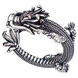 Herren Damen Vintage Schwarz 925 Sterling Silber Chinesischer Drache Ring Kleiner Fingerring Verstellbar 53-58