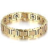 JewelryWe Schmuck Herren Magnet Armband, Luxus Kariert Rechteck I Link Magnetarmband Armreif, Wolfram Wolframcarbid, Gold