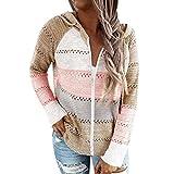 GJJSZ Damen Strickpullover mit Reißverschluss, gestreift, Farbblock, hohl, Patchwork-Sweatshirt