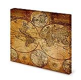 Magnettafel Pinnwand Bild Weltkarte Seefahrerkarte Antik gekantet Größe 70 x 70 cm