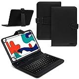 Tablet Hülle kompatibel für Huawei MatePad T10 / T10s Tasche Tastatur Keyboard QWERTZ Schutzhülle Cover Standfunktion USB Schutz Case, Farben:Schwarz