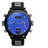 Armbanduhr,Elektronische Quarz Doppelanzeige Uhr 3 Zeitzone Beiläufige wasserdichte Uhr, Gold