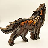 OMYLFQ Statuen Tier Wolf Handwerk figüre Desktop Tisch Ornament Carving Wolf Modell kreative Home Office Dekoration skulptur Figur