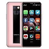 Mini-Smartphone 3,5-Zoll-HD-Bildschirm 4G Dual-SIM-Handy Android OS 9.0 Quad-Core-GPS entsperrtes Handy 3GB+32GB(Rosa)