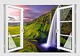 Skins4u Wasserfall Wandtattoo Wandaufkleber Wandsticker Wandbild Farbe bunt Druck Sk7053 Größe 120cm x 80