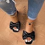 YYFF Sandalen schieben und Sommer,Schmetterlingsstrandschuhe, Flache Mode sandschwarz_41,Clogs Atmungsaktiv Mesh H