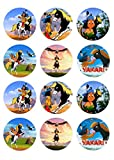 12 Muffinaufleger ca. 6 cm zum selbst ausscheiden, Cupcakes Muffinsbild Geburtstag Motiv: Yakari , Fondant 0525x