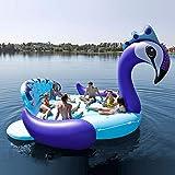 Sport Aufblasbares Pool Schwimmbad 6 Personen Aufblasbare Riesen Pfau Pool Float Island Schwimmbecken Lake Beach Party Schwimmboot Erwachsene Wasserspielzeug Luftmatratzen Blue-490 * 320cm