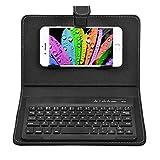 VBESTLIFE Universal Wireless Tastatur Flip Hülle mit Stand für iOS/Android Handys(schwarz)