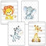 Frechdax® 4er Set Kinderzimmer Babyzimmer Poster Bilder DIN A4   Mädchen Junge Deko   Dekoration Kinderzimmer   Waldtiere Safari Skandinavisch (4er Set Safari, Zebra, Löwe, Giraffe, Elefant)