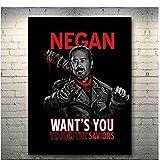 chtshjdtb The Walking Dead Fernsehserie Rick Negan Kunstplakat Leinwand Gemälde Bilder Drucken Wohnzimmer Wohnkultur Geschenke-50X70Cm No Frame