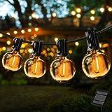 Lichterkette Außen,G40 7.5M Lichterkette Glühbirne Aussen,Solar Garten Lichterkette Terrasse außerhalb der Lichterkette,Wasserdichte LED Lichterketten für Innen und Außen Deko(25 Glühbirne,Warmweißes)