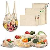 Viedouce 9 Packung Wiederverwendbare Produkttaschen,Wiederverwendbare Masche Produzieren Taschen,Gemüsebeutel mit Kordelzug,Wiederverwendbar Obst- und Gemüsebeutel,Waschbar Biologisch Abbaubar