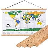 Benjia Magnetisch Posterschiene, Magnet Magnetische A2 Posterrahmen Holz Posterleiste Posterhänger für drucken Kunstwerk (42cm, Teakholz)