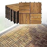 LARS360 Holzfliesen Bodenfliese Terrassenfliesen Balkonfliesen Bodenbelag mit Klicksystem und Drainage Akazien-Holz Deck Fliese für Terrassen Balkon Garten (1 m² (11 Stück), Model B)