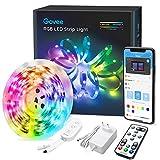 Govee LED Strip 5m, RGB LED Streifen Bluetooth, Farbwechsel, Musik Sync, 64 Szenenmodus,Steuerbar via App-steuerung, Fernbedienung und Steuerbox