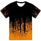 Unisex 3D Aufdruck T-Shirts,Unisex Kurzarm Shirt Hip Hop 3D Gedruckt Orange Muster Lässig Streetwear Atmungsaktive O-Ausschnitt Bluse Geschenk Für Frauen Männer Jugend Geburtstag, M.