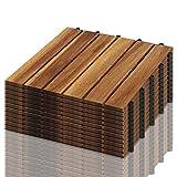 VINGO 22-er set Holzfliesen aus Akazien Holz, 30 * 30cm 6 Latten Fliese 2m², Bodenfliesen geeignet als Terrassenfliesen und Balk