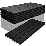 Hoviecole WPC Holz Kunststoff Fliesen,30x60cm,6 Stück,anthrazit,Terrassenfliesen Klickfliesen Balkonfliesen Wasserdicht,korrosionsbeständig und einfach zu installieren