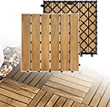 XZhstes Holzfliesen aus Akazien Holz, 30 x 30cm 11er Set für 1 m², Garten-Fliese Bodenbelag mit Drainage, klick-Fliesen für Garten Terrasse Balkon (Color : Model A 11 Stück | 1m²)