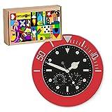 Natuiahan Wetterstation mit Integrierter Uhr, Fluoreszierende Zeiger, Leise und Einfach zu Bedienen, Bereit zum Geschenk, Farbe: Rot