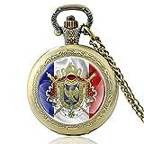Erste französische Empire Wappen Design Vintage Quarz Taschenuhr Männer Frauen Classic Anhänger Halskette Stunden Uhr Geschenke