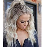 VEBONNY Ombre Platinum Blonde Curly Lace Front Wigs with Brown Roots Flawless Hair Beachy Wavy Wigs Glueless Lace Blonde Wigs 18 inch VEBONNY-031-18-NEW