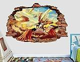 Liuxz 3D Wandaufkleber Legendary Fire Wandtattoo Aufkleber Kinder zerschlagen 3D Art Deco Vinyl