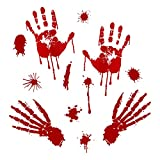 Skyinbags Halloween Wandaufkleber - Halloween Blutiger Handabdruck Fußabdruck Wandaufkleber, Zombie Autoaufkleber Dekorationen Wand Fensteraufkleber PVC Aufkleber Wasserdicht,Stil 1