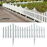 Honeyhouse Zaun Rasenkanten Beeteinfassung Palisade - 61x33cm Gartenzaun Lattenzaun Dekozaun Zierzaun Kunststoffzaun - 6er Pack Friesenzaun (Gesamtlänge 3.6 m) (White)