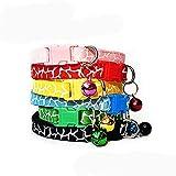 Egurs 6 Stück Hundehalsbänder Welpenhalsbänder mit Glocken Einstellbar Haustier Halsband Katzenhalsb