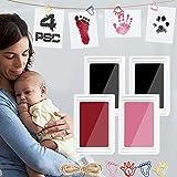Baby Fussabdruck Set, TBoonor 2 pcs Baby Abdruck Set für Neugeborene, sicher ungiftig Stempelkissen kit Babyhaut kommt nicht mit Farbe in Berührung (Schwarz Rot-4psc)