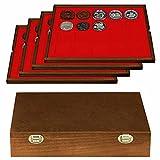 LINDNER Echtholz Münzkassette mit 4 hellroten Tableaus für 80 Münzen/Münzkapseln bis Ø 47 mm