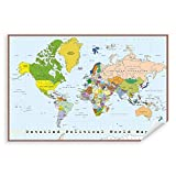 Postereck - 0556 - Detaillierte politische Weltkarte, Hauptstädten - Unterricht Klassenzimmer Schule Wandposter Fotoposter Bilder Wandbild Wandbilder - Poster - DIN A2-42,0 cm x 59,4 cm