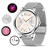 smartwatch Damen,Yocuby Fashion smartwatch with Multi-UI Selection Full Touch Color Screen IP68 Waterproof Heart Rate Monitor Pedometer Sleep Monitor Smartwatch for Android and iOS Phones (Silber)