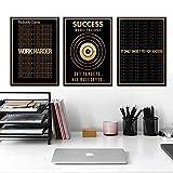 Erfolgreiche Text Leinwand Malerei Unternehmer Inspirierende Zitate Wandkunst Poster Druck Büro Dekoration Bild-30x40cmx3 Rahmenlos