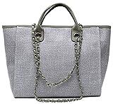 YPuzro Taschen Damen Canvas Elegant Große Handtasche Europäische Stil Schultertaschen Umhängetasche Shopper Tasche Henkeltasche Beuteltasche Weich Damentasche Schwarz (Grau)