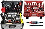 FAMEX 729-18 Alu Werkzeugkoffer Set bestückt Werkzeug Top Qualität mit 66-teiligem Steckschlüsselsatz