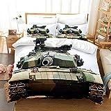 Bettwäsche 180x200cm Angenehme Mikrofaser Bettbezug Set Militär begeisterter,Typ 99 Kampfpanzer Landschaft Bettbezüge mit Reißverschluss für Kinder Erwachsene 2 Kissenbezug 80x80cm