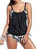 EUDOLAH Damen Padded Bikini-Set Streifen zweiteilig Swimwear Beachwear (3XL, A-Blumen schwarz)