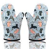 AYADA Ofenhandschuh Topfhandschuhe, Topflappen Handschuh Backhandschuhe Backofen Handschuhe Oven Gloves Oven Mitts Kochhandschuhe Backofenhandschuhe Hitzebestaendig Küchenhandschuhe 2 Pack (Katze)
