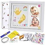 Nabance Baby Handabdruck und Fußabdruck Set Baby Holz Bilderrahmen Gipsabdruck Baby Hand und Fuß DIY Set mit Buchstaben Set, Dekorationen, Gold-Farbe, Aufkleber, Geschenke zur Geburt