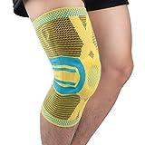 oxoxo Kniebandage mit ergonomischer Passform durch 3D-Stricktechnik - Schutz & Stabilität durch Silikon Pad und Stützfedern für Meniskus & Patella (M)