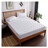 QIANGU Spannbettlaken, leicht, atmungsaktiv, rutschfest, gesteppt, warm, bequem, weich, langlebig, für Schlafzimmer (Farbe: Weiß, Größe: 180 x 220 cm)