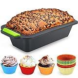 Familybox 11 in 1 Silikon Brotbackform Set, Große Backform Kastenform Antihaftende Backform & 10 Muffin Cupcake Förmchen Muffinform um Backen, Mixen und dünsten, hitzebeständig bis 230 °C, 24cm