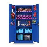 Werkzeugschrank TC01A Werkstattschrank Garagenschrank Universalschrank Lagerschrank Pulverbeschichtet Flügeltüren Stahlblech 185 cm x 92 cm x 50 cm (blau)