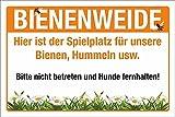 WERBEPUNKT. Schild Bienenweide Hummeln Insekten Hinweis 3 mm Alu-Verbund 600 x 400 mm