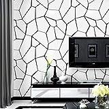 kengbi Haltbar und einfach Wallpaper Frame Installation Modern Fashion Schwarz Weiß Stein Tapete 3D Wohnzimmer Abziehbilder TV Hintergrund Nordic Ins-Art-Kunst-Wand-Papiere Home Decor