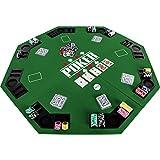 """Maxstore Faltbare Pokerauflage """"Full House"""" für bis zu 8 Spieler, achteckig, Maße 120x120 cm, MDF Platte, 8 Getränkehalter, 8 Chiptrays, grün"""